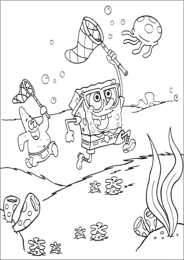 bob esponja y patricio cazando medusas
