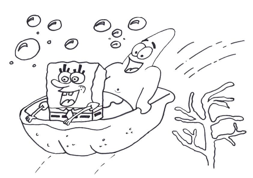 dibujos para colorear de bob esponja y patricio navegando