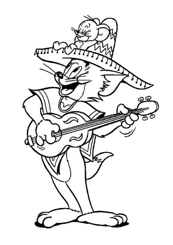 Tom toca la guitarra y Jerry se acomoda en su sombrero