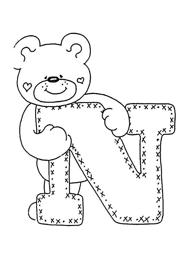 letra N para colorear