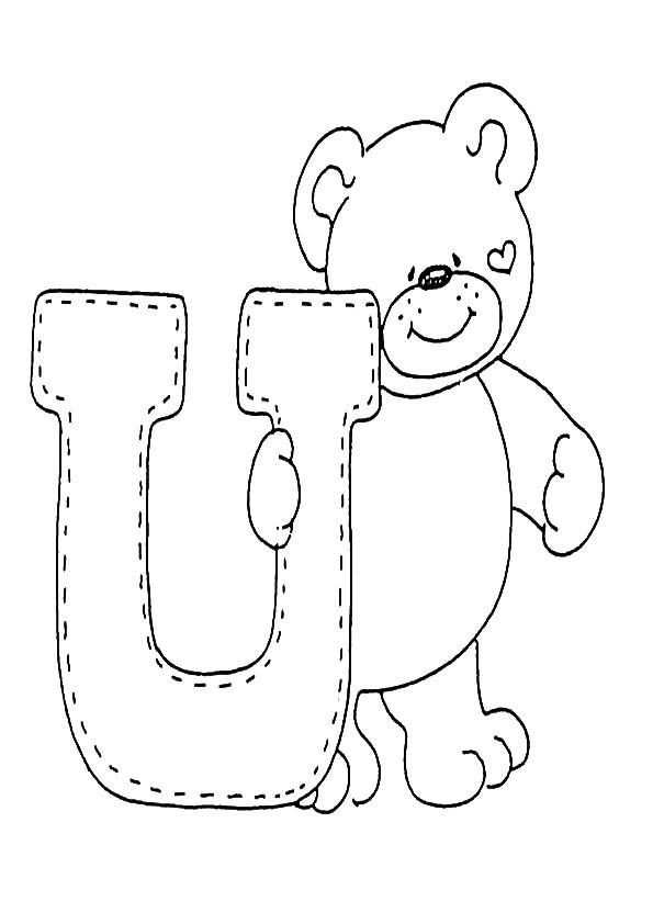 letra U para colorear