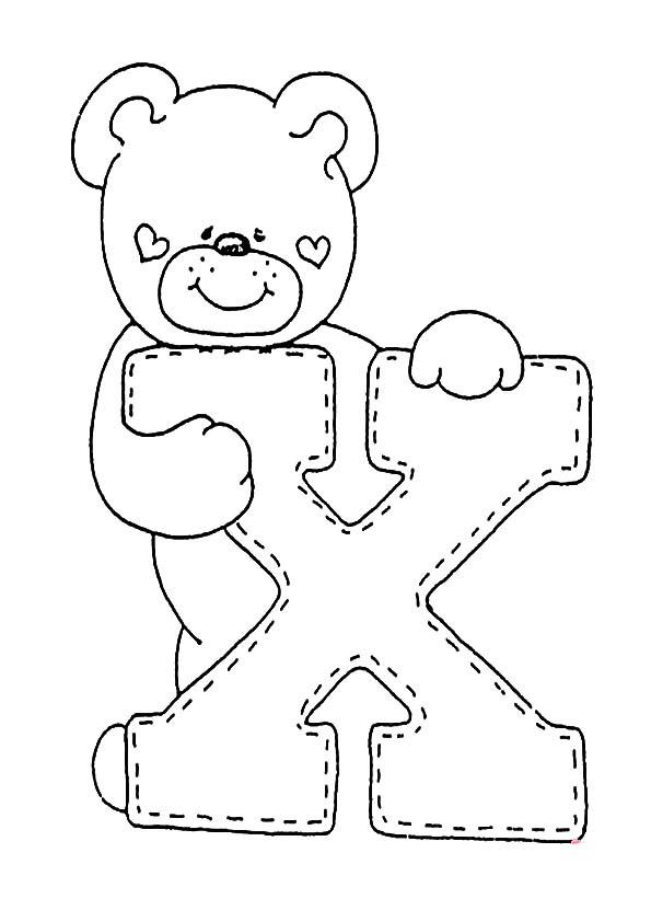 letra X para colorear