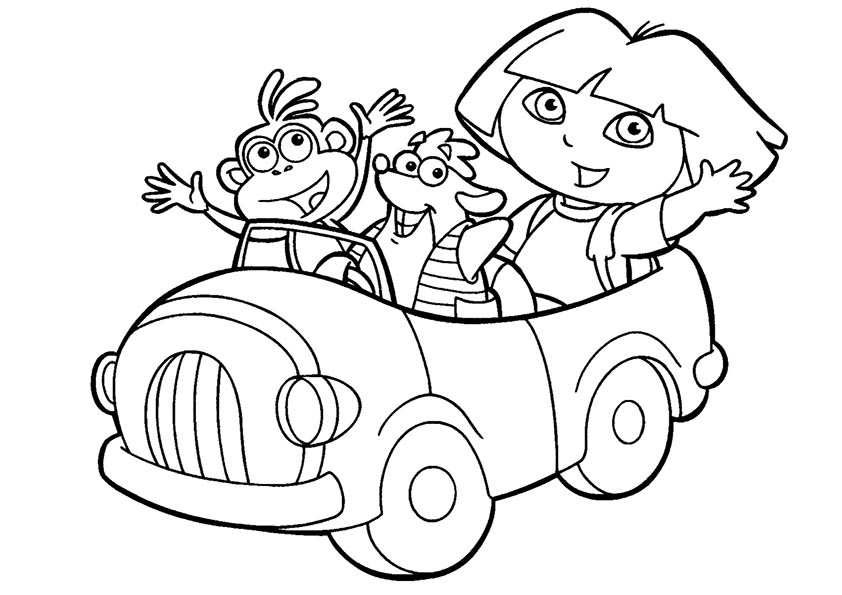 dora y amigos van en coche