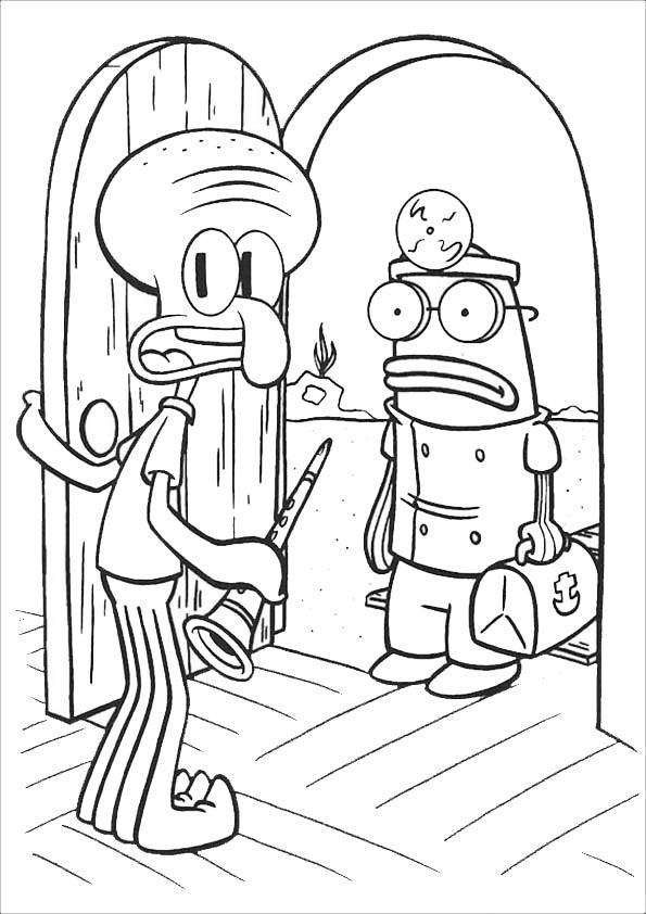 calamardo abre la puerta