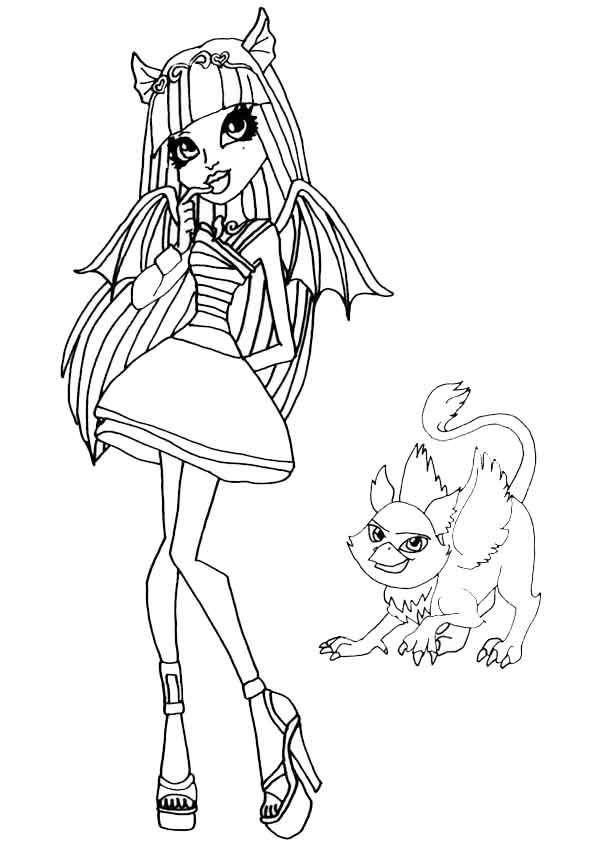 monster high, rochelle goyle con su mascota