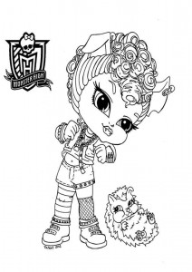 muñeca de clawdeen baby de monster high para colorear