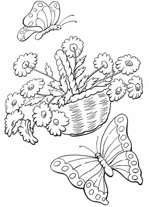 flores con mariposa