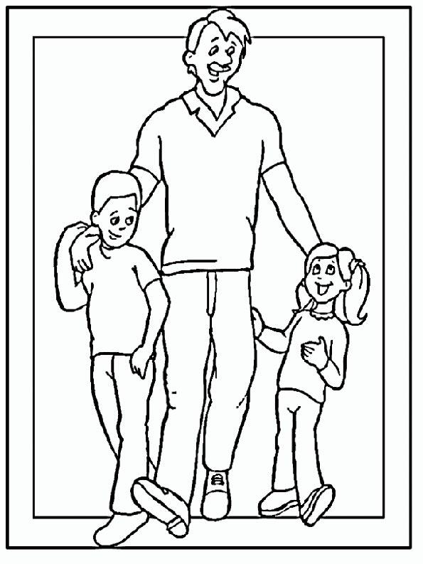 padre con dos hijos