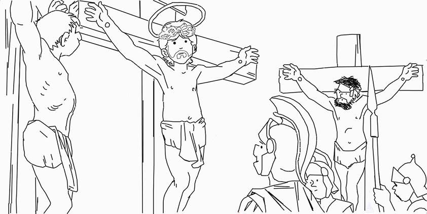 jesus crucificado junto otros