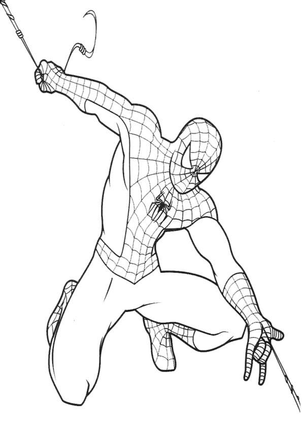 spiderman lanza telas de araña
