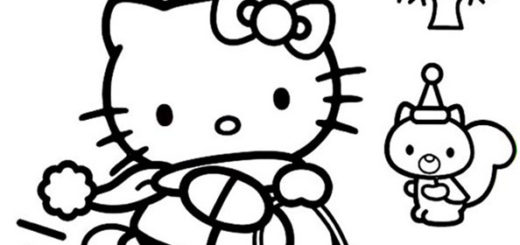 Dibujo colorear Hello Kitty en navidad 11